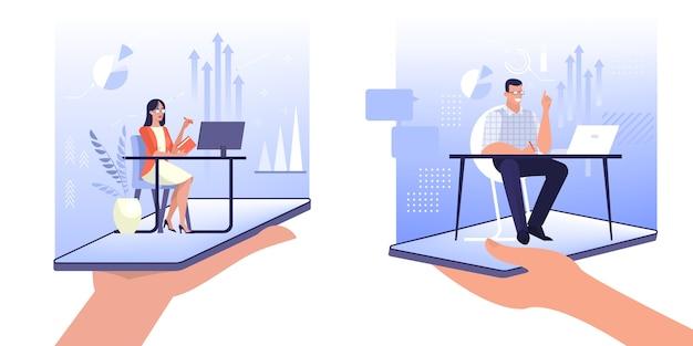Concept d'exercice en ligne. assistant assis au bureau.