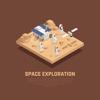 Concept d'exploration spatiale avec la planète sufrace symboles de recherche illustration isométrique