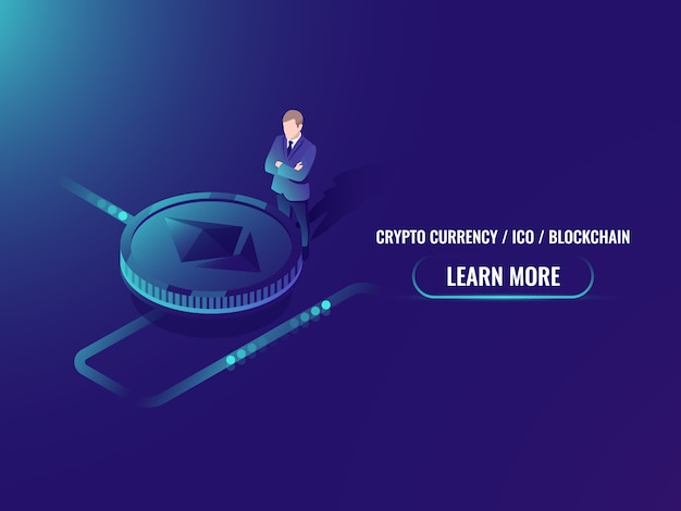 Concept d'extraction et d'achat de crypto-monnaie isométrique, investissement dans la monnaie cryptée