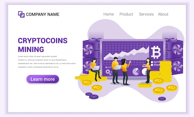 Concept d'extraction de crypto-monnaie avec des personnes travaillant sur écran et ordinateur portable affichant des données graphiques