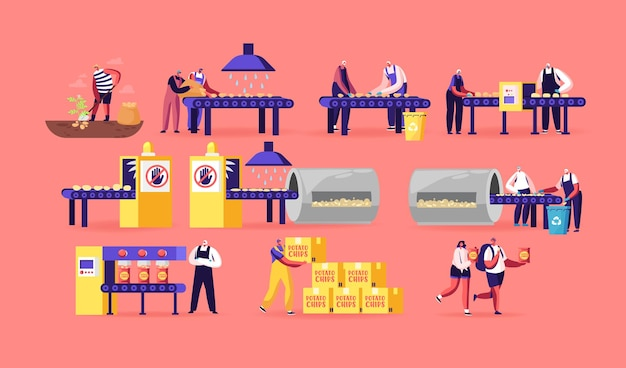 Concept de fabrication de puces. les gens produisent des collations