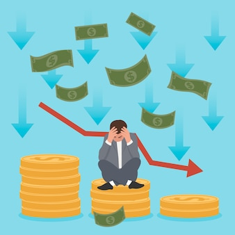 Concept de faillite avec argent et homme