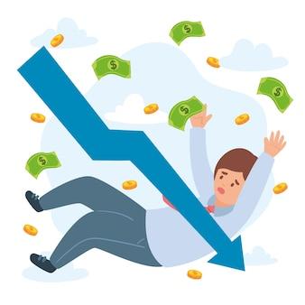 Concept de faillite avec personne et monnaie