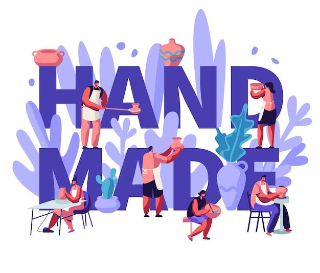 Concept fait à la main. personnages faisant la peinture, la cuisson au four et la décoration des pots, la faïence, la céramique de vaisselle à l'atelier de poterie
