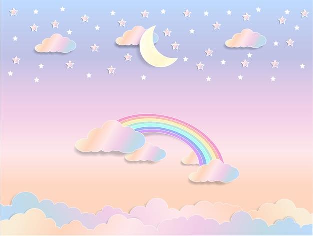 Concept de fantaisie, fond d'arc-en-ciel pastel