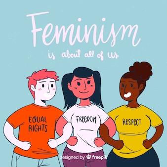 Concept de féminisme moderne dessiné à la main