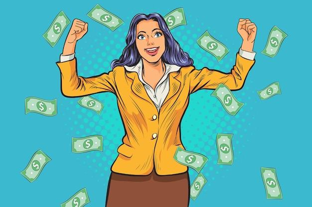Concept de femme d & # 39; affaires prospère, profit de richesse financière