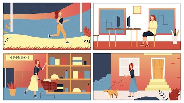 Concept de femme de routine de loisirs quotidiens