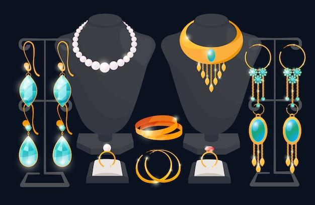 Concept de fenêtre de magasin de bijoux. boucles d'oreilles et collier