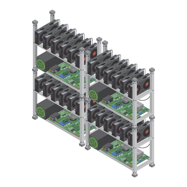 Concept de fermes minières de crypto-monnaie isométrique avec des cartes vidéo graphiques isolées.