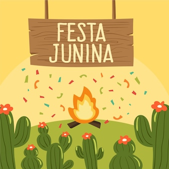 Concept festa junina dessiné à la main