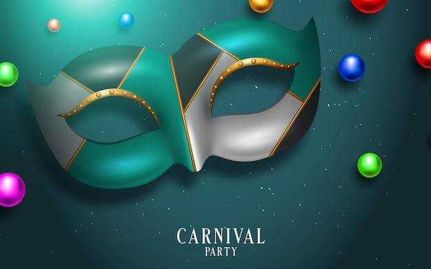 Concept festif de carnaval heureux avec masque de trompette musicale