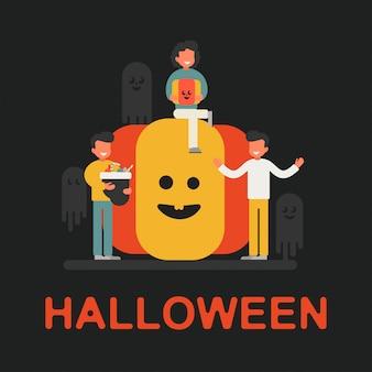 Concept festif d'un petit personnage célébrant halloween
