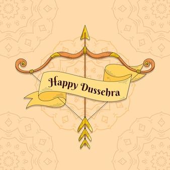 Concept de festival de dussehra dessiné à la main