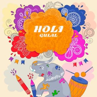 Concept de festival de holi coloré dessiné à la main