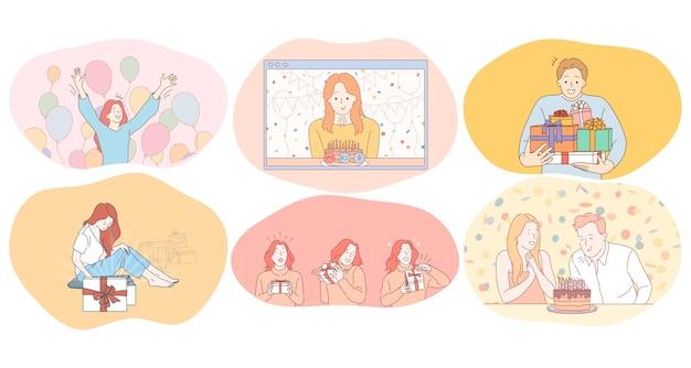 Concept de fête d'anniversaire, de célébration et de vacances.