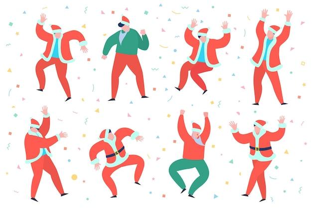 Concept de fête du nouvel an personnes en robe rouge du père noël dansant préparation pour rencontrer la nouvelle année