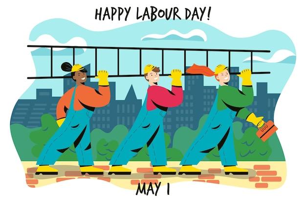 Concept de fête du travail plat