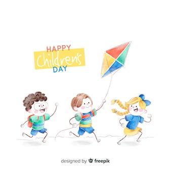 Concept de fête des enfants à l'aquarelle