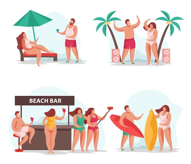 Concept de fête d'été de personnes s'amusant illustration