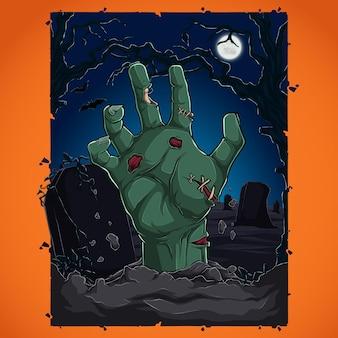 Concept de fête d'halloween avec des arbres et des chauves-souris de pleine lune à la main zombie