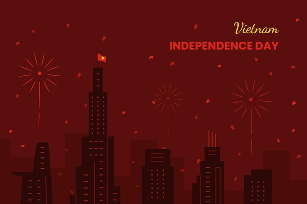 Concept de la fête de l'indépendance du vietnam au design plat