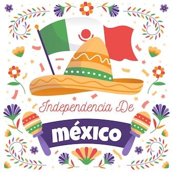 Concept de fête de l'indépendance mexicaine dessiné à la main