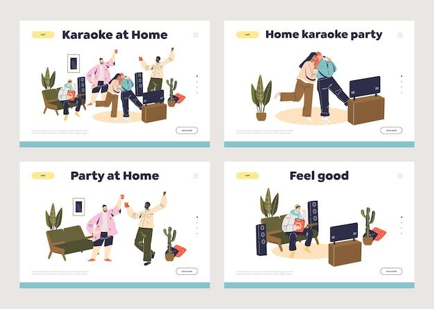 Concept de fête à la maison d'ensemble de modèle de pages de destination de dessin animé