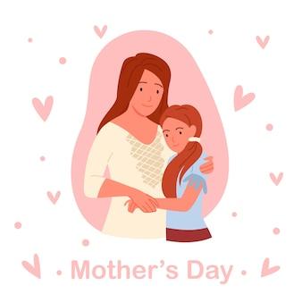Concept de fête des mères, les gens mignons de la famille aiment et embrassent l'illustration vectorielle. dessin animé jeune heureuse belle mère aimante et petite fille fille debout ensemble et étreignant, modèle de carte de voeux