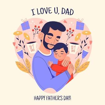 Concept de fête des pères dessiné à la main
