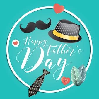 Concept de fête des pères heureux de la cravate avec moustache