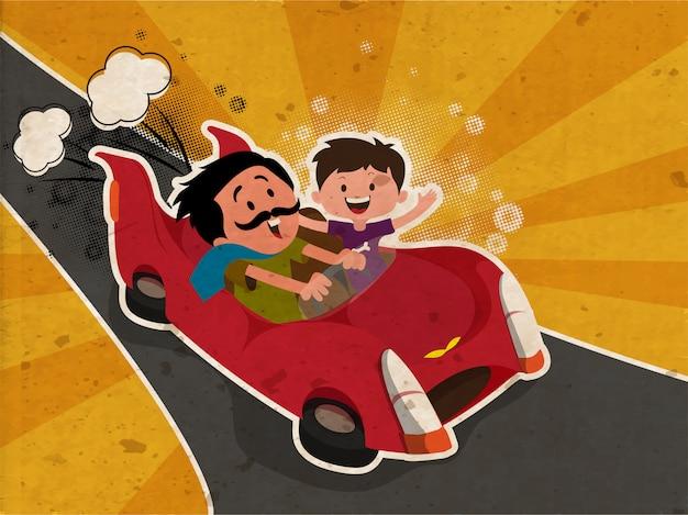 Concept de fête des pères heureux avec père et fils, appréciant le lecteur de voiture sur les rayons vintage backgrou