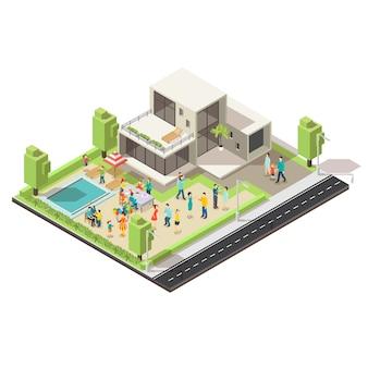 Concept de fête de villa de banlieue isométrique