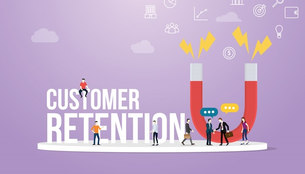 Concept de fidélisation de la clientèle avec de grands mots et des membres de l'équipe et un grand aimant