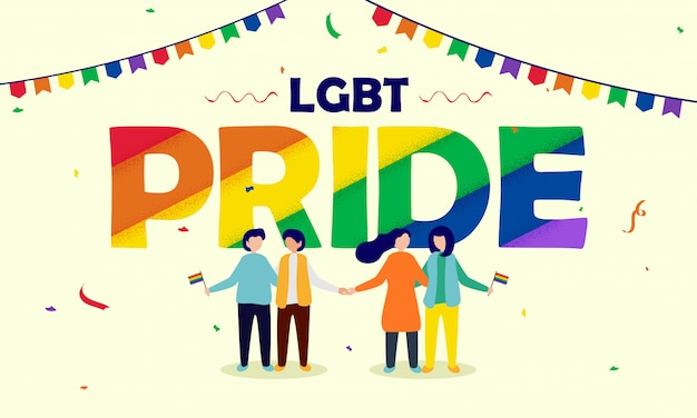 Concept de fierté lgbt avec un couple gay et lesbien tenant des drapeaux de la liberté.