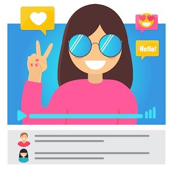 Concept de fille vidéo blogger