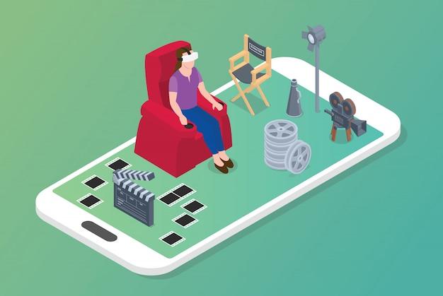 Concept de films de réalité virtuelle vr avec femme assise sur une chaise et icône de film avec un style isométrique moderne