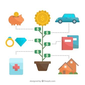 Concept financier avec un style charmant