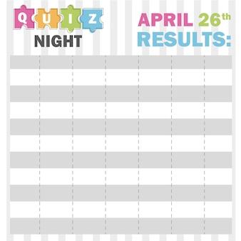 Concept de fine ligne de nuit de quiz. illustration vectorielle - pièces de puzzle colorées - tableau avec résultats