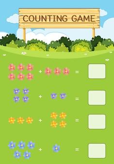 Concept de fleur de jeu de comptage