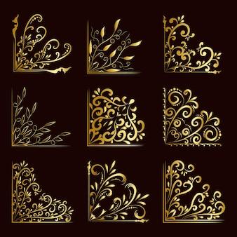 Concept floral doré de coin de luxe