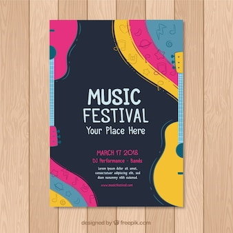 Concept de flyer coloré pour la fête de la musique