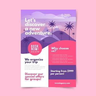 Concept de flyer illustré de vente de voyage