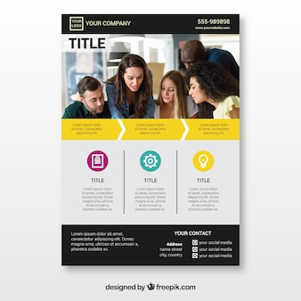 Concept de flyer jaune corporatif