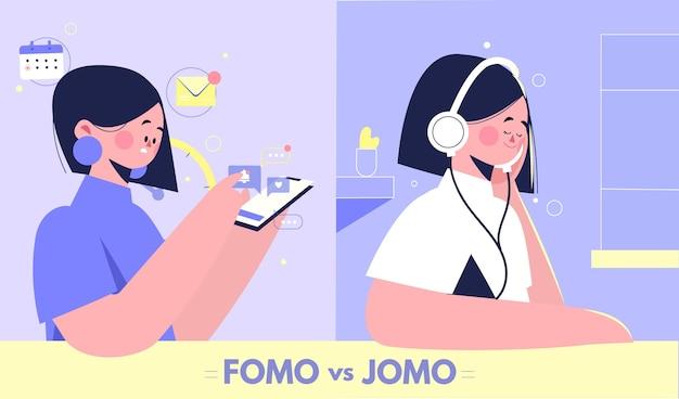 Concept fomo numérique et organique contre jomo