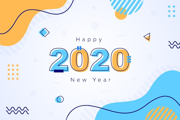 Concept de fond design plat nouvel an 2020