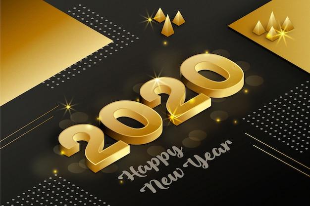 Concept de fond doré nouvel an 2020