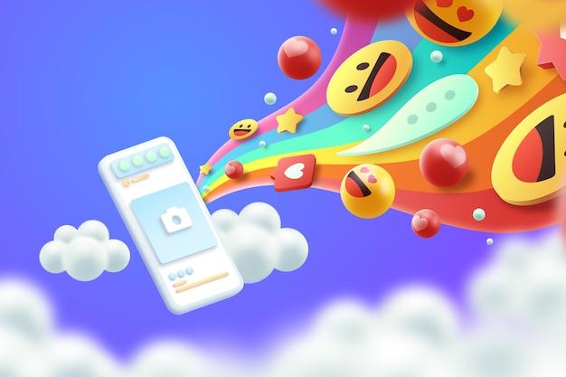 Concept de fond d'emojis colorés 3d