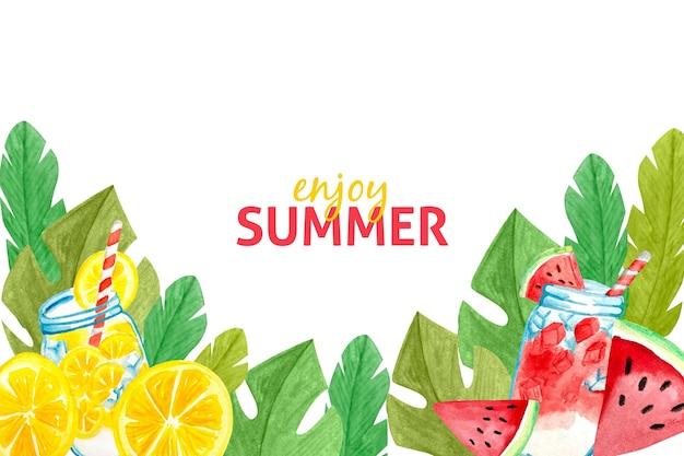 Concept de fond d'été aquarelle