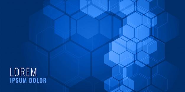 Concept de fond médical de forme hexagonale bleue